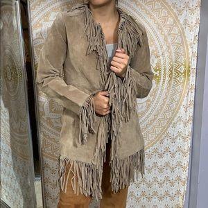 B lucid pig split leather fringed jacket sz xs